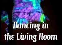 A surreal layered composition of me, Leslie Michel, Dancing in the Livingroom